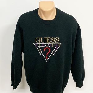 Vintage | Guess Black Embroidered Sweatshirt L